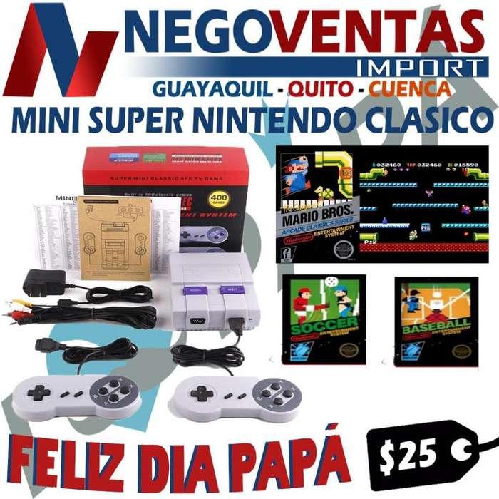 MINI SUPER NINTENDO JUEGO RETROS 400 JUGOS CON ENTRADA RCA Y 2 PALANCAS