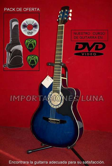 distribuidor guitarra acustica color azul importado