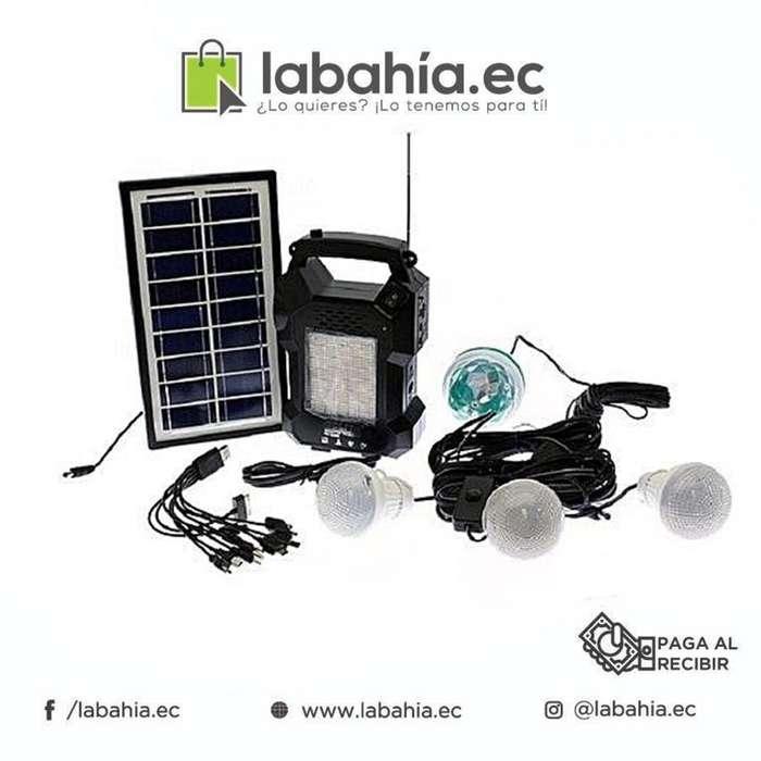 Kit Solar con focos, Radio y Cargador USB para hacienda o Camping