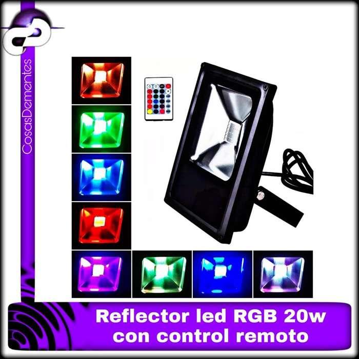 REFLECTOR LED RGB 20W EXTERIOR 16 COLORES CONTROL REMOTO