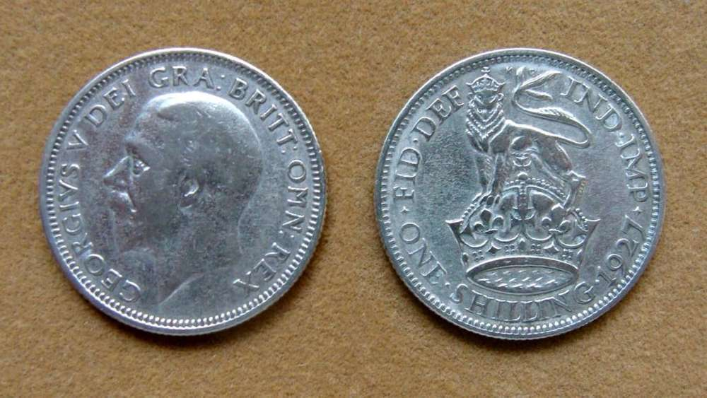 Moneda de 1 chelín de plata Gran Bretaña 1927