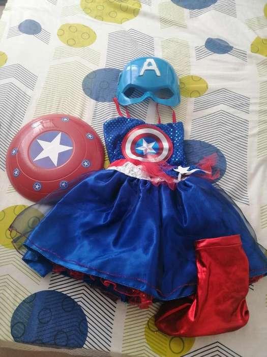 Disfraz Capitán América Niña Talla 8