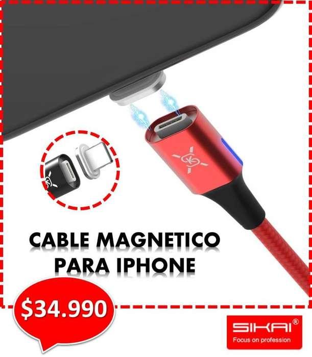 CABLE MAGNÉTICO SIKAI PARA CELULAR IPHONE. CARGA Y DATOS. 1,50 m de largo - Entrega a domicilio.