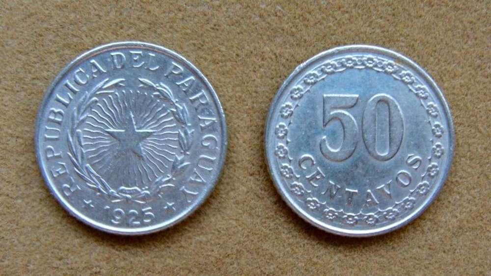 Moneda de 50 centavos Paraguay 1925