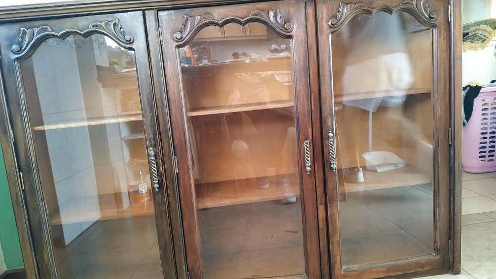 Mueble de Madera con Puertas de Vidrio