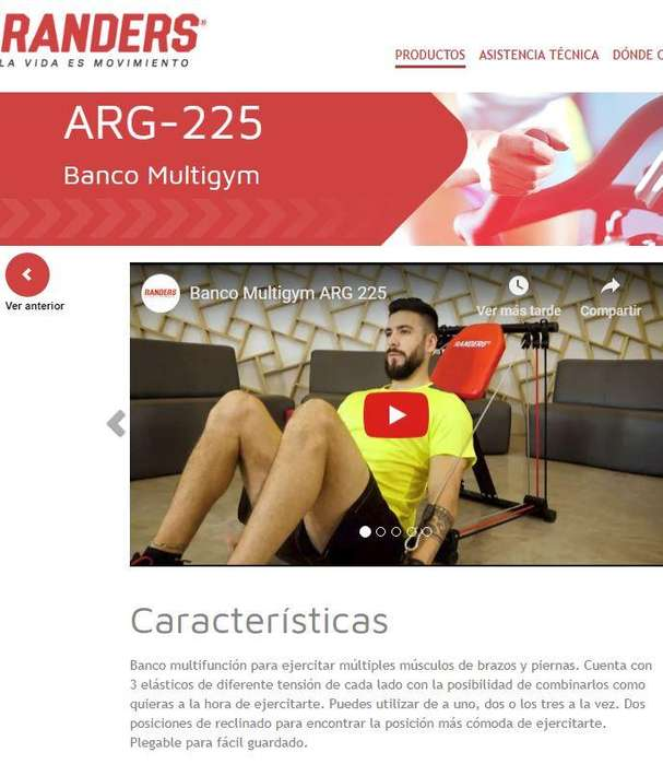 RANDERS Banco MultiGym PILATES Plegable Canjeo por Bici Plegable