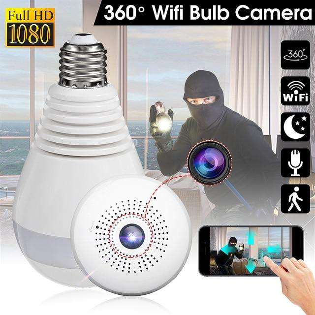 Cámara Wifi Seguridad Bombillo 360 Grados