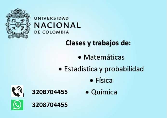 Clases y asesoria en trabajos de Matematicas, Estadistica y Fisica.