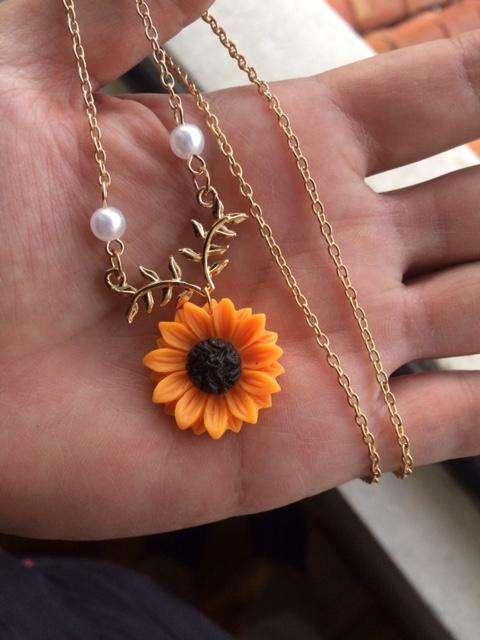 collar de girasol flor bisuteria joya perla / 0992786809