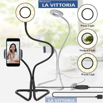 Luz Flexible Del Anillo Del Selfie Del USB Con El Soporte Del Teléfono Celular Para La Luz