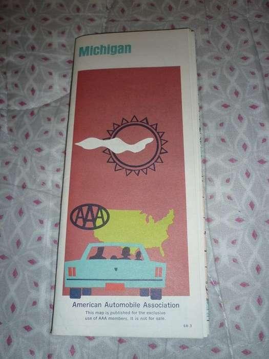 RARO MAPA PLANO DE MICHIGAN USA ESTADOS UNIDOS 1969 AAA AMERICAN AUTOMOBILE ASSOCIATION