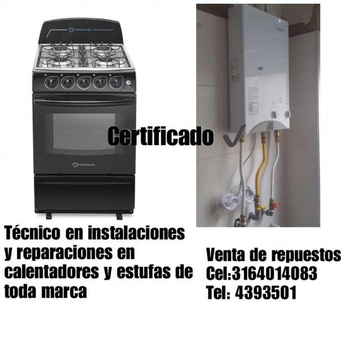Tecnico Certificado Calentadores Estufas