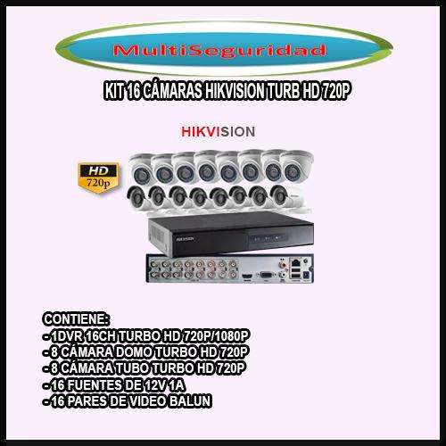 KIT HIKVISION TURBO HD 720P 16 CÁMARAS DVR 16CH ACCESORIOS INCLUYE IVA