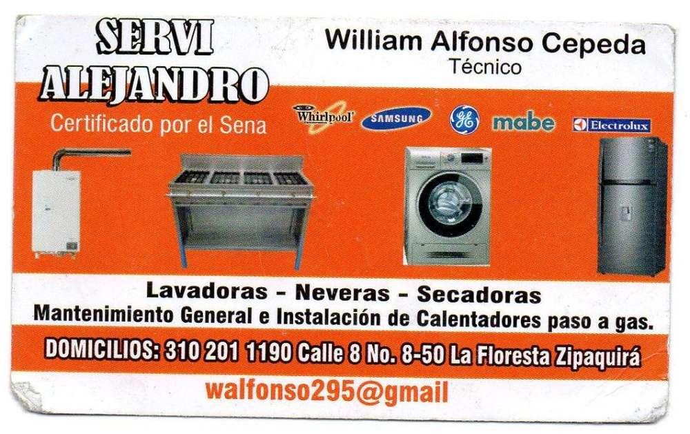 Técnico en mantenimiento y reparación lavadoras neveras, calentadores a paso de gas y estufas