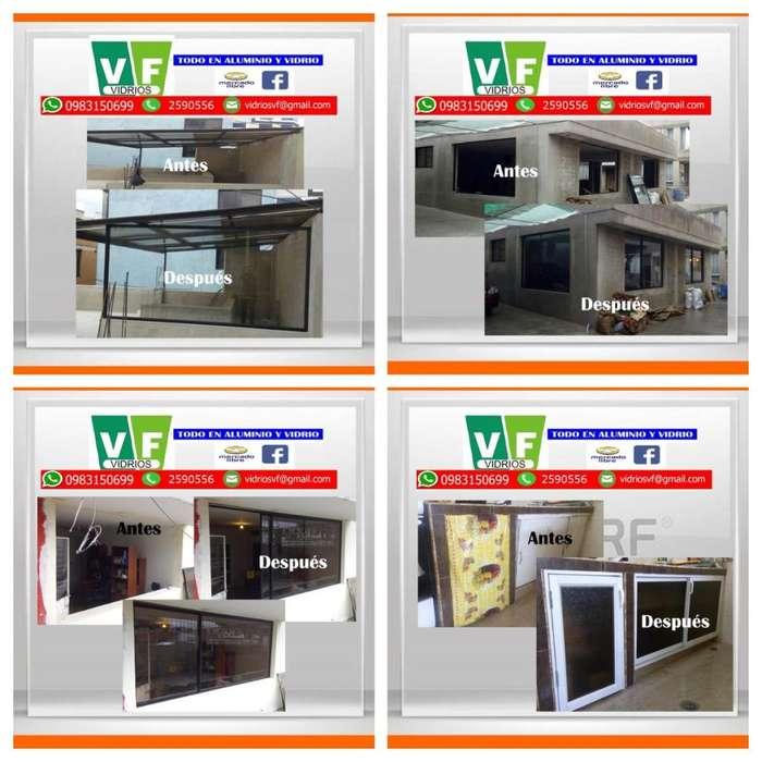 Ventana / Mampara / Vitrina / Puerta en Aluminio, Vidrio y Acero Inoxidable