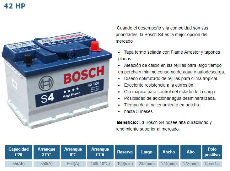 MILAGRO BATERIA BOSCH 42 HP S4 NUEVA PARA AUTO - NUEVA POR 90 INCLUYE IVA