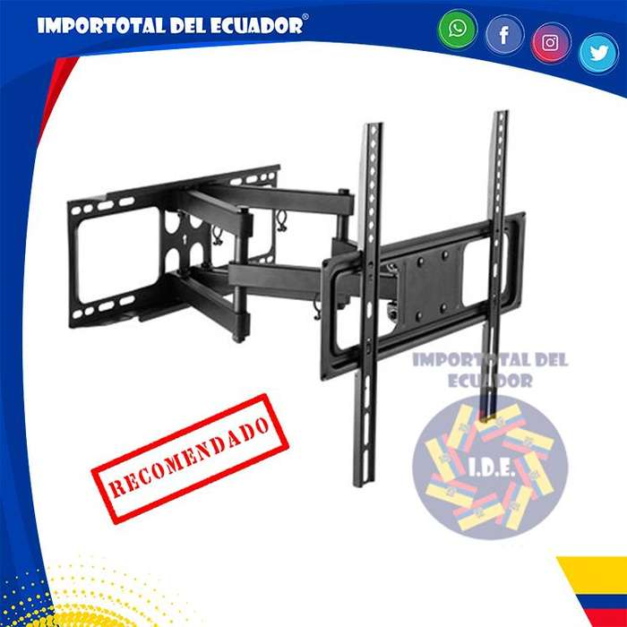 Soporte de pared ''nuevo'' brazo doble tipo acordeón tv plana o curved de 32 a 55 pulgadas / Resiste hasta 88 libras