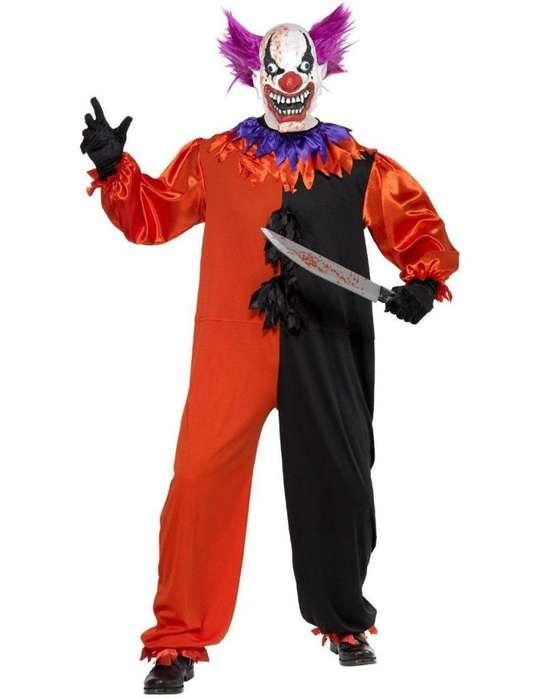 Disfraz payaso asesino completo con todo traje