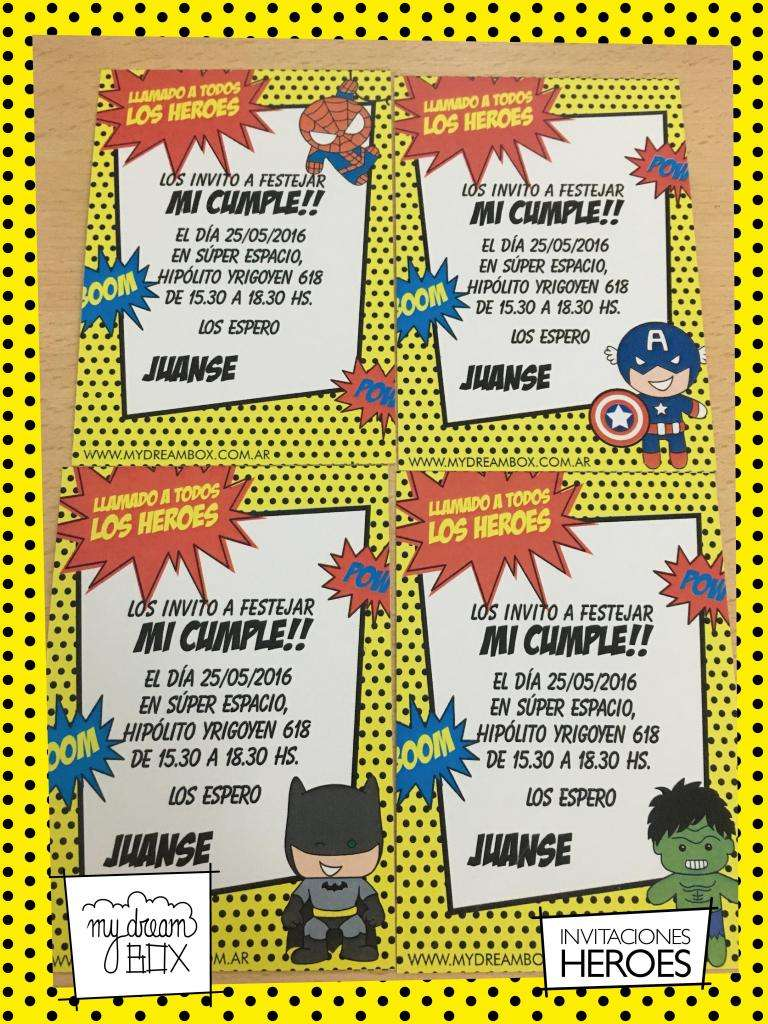 Souvenir Tarjetas Invitacion Heroes Cumple Infantil Evento
