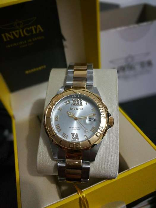Reloj Invicta de mujer con cristales, oro, plateado dorado, regalo mamá, día madre. Relojes Fossil Guess
