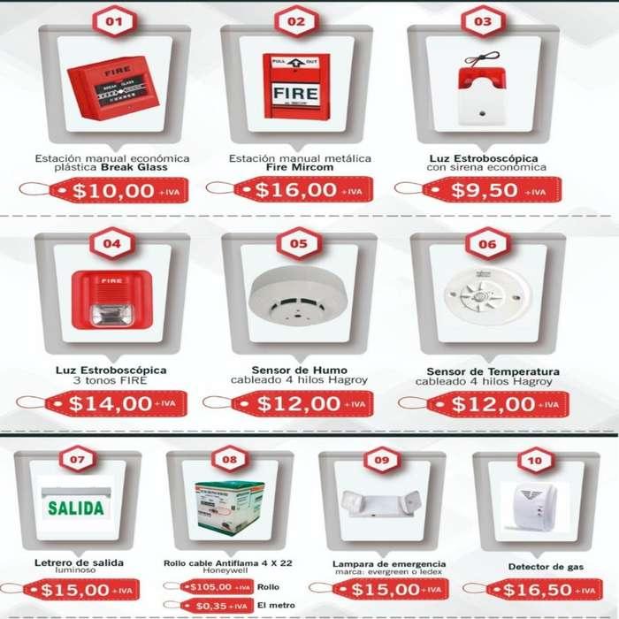 Lamparas de emergencia luz estroboscopica sirena alarma deteccion Bosch. cable de incendio detector de humo alarma dsc