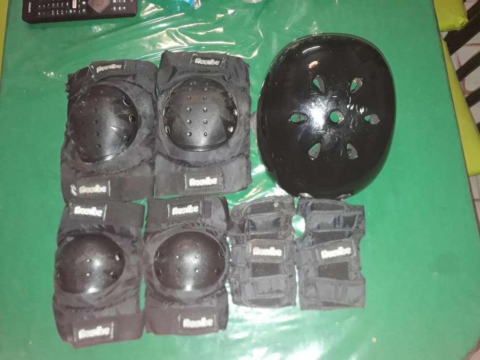 Kit de protecciones Casco para Skate/longboard/rollers/bike