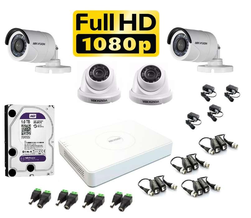 Kit 4 Cámaras Seguridad HikVision FULLHD 1080p disco, 1TB COMPLETO