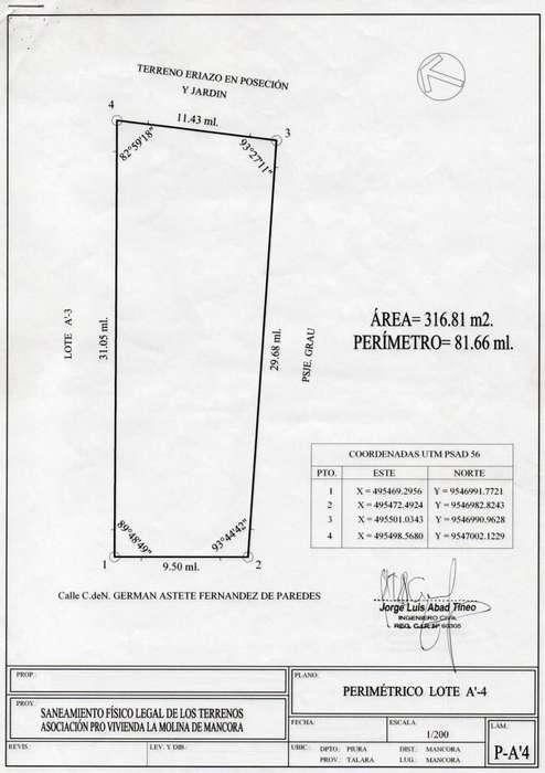 MANCORA 317MT2 Incrito en RRPP