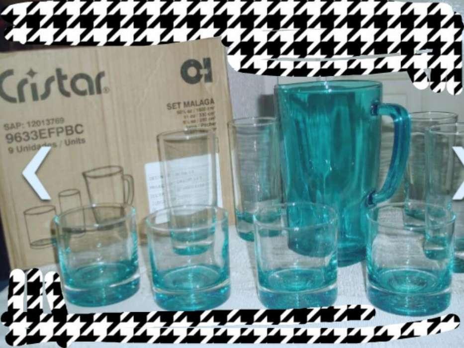 Set de Vasos Cristar de Vidrio Mas Jarra