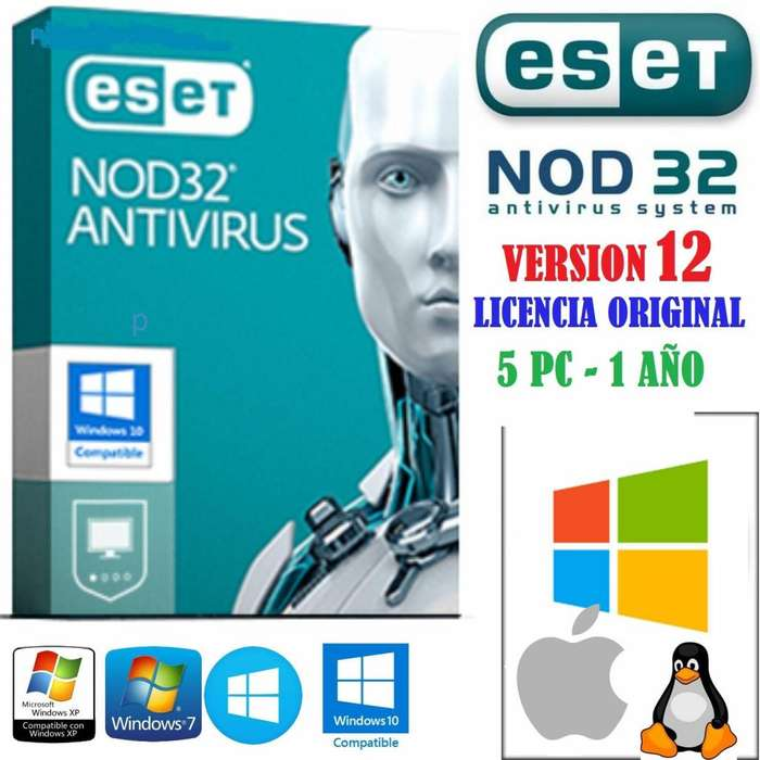 Eset Nod32 Antivirus 2019 Licencia Original 5 Pc x 1 año entrega inmediata