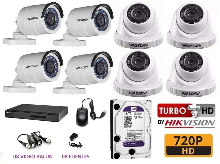 CAMARAS DE SEGURIDAD 8 HD CCTV HIKVISION 1TB WD
