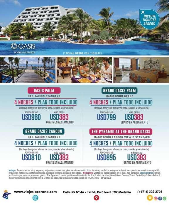 Viaje a Cancún con Viajes la Corona 4 Noches H. GRAND OASIS CANCÚN