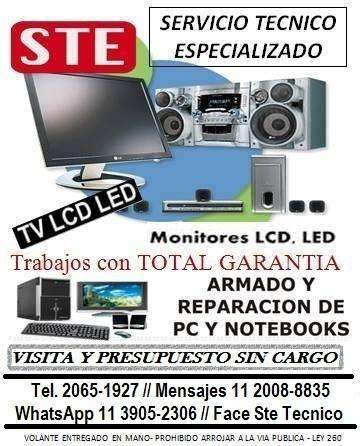 LCD LED Smart TV, Audio, PC Reparaciones Consultas Whastapp 1139052306