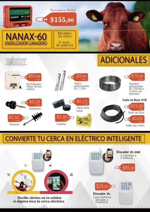 Cerco Electrico Cerca Energizador Electrificador 1500m aisladores templadores letreros peligro cable bujia