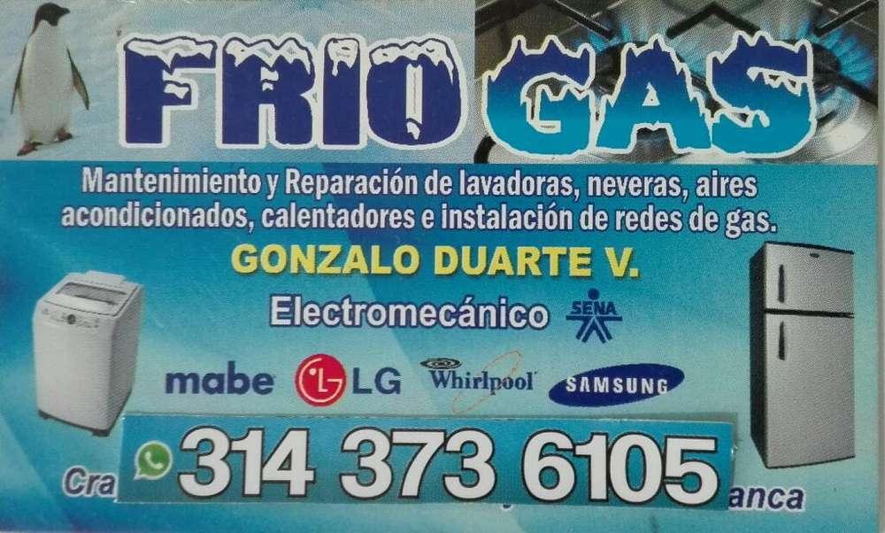 Mantenimiento y Reparación Lavadoras, Neveras, calentadores ,Aires