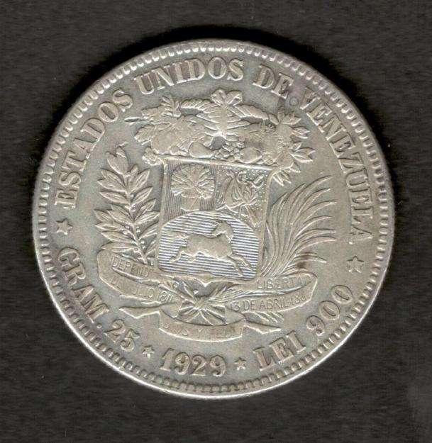 1929 Venezuela 5 Bolivares FuerteGram 25 Silver Coin XF