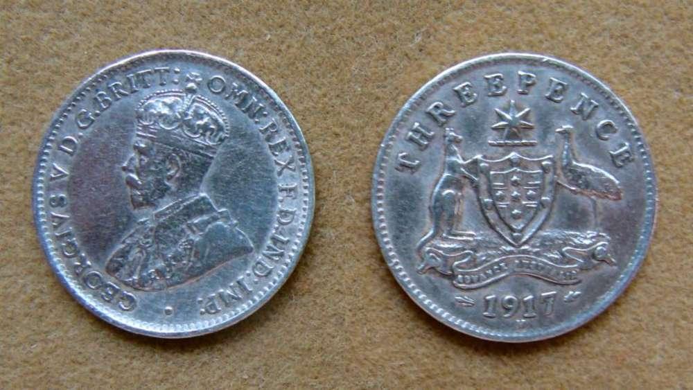 Moneda de 3 peniques de plata, Australia bajo Administración Británica año 1917