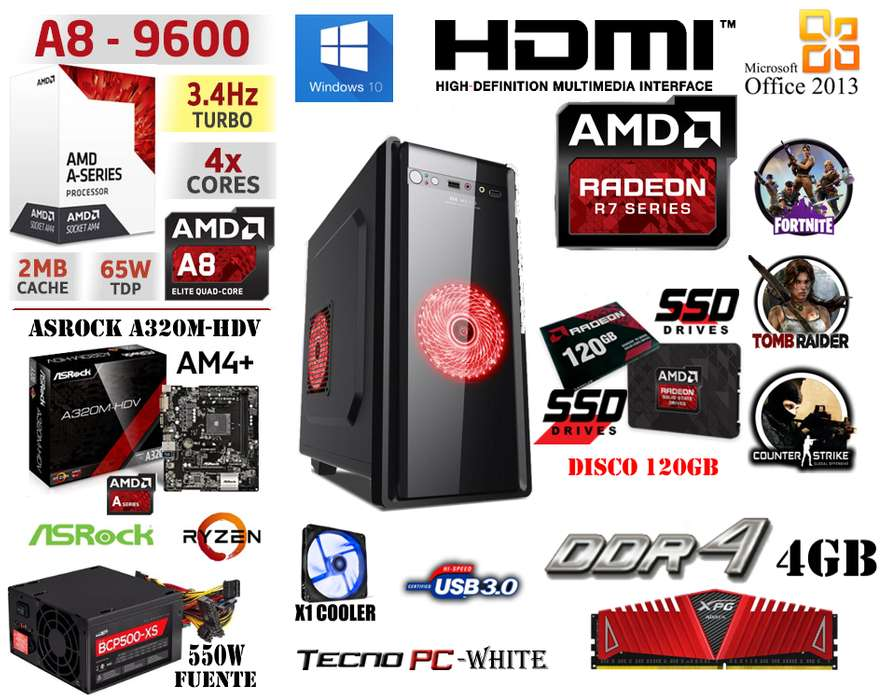 <strong>pc</strong> HOME // NUEVA // A8 9600 X4 / DDR4 4GB / SSD 120GB / R7 Series / 5 juegos