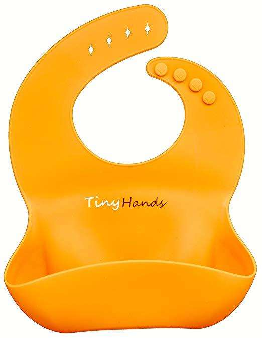 Baberos Silicona Azul Naranja Bebés Comida Envío Gratis