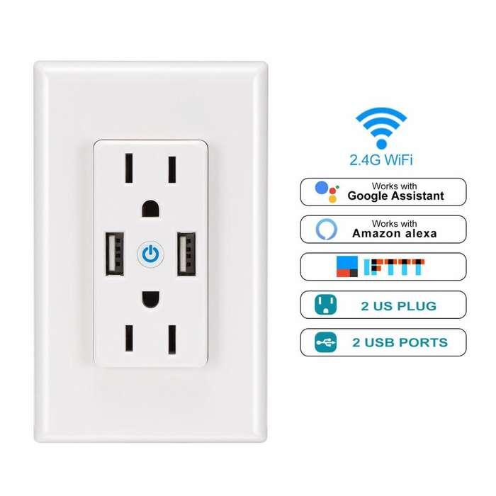LemonBest UEMON Smart home alexa y gooogle home toma corriente inteligente electrical wifi wall outlet double Domotica