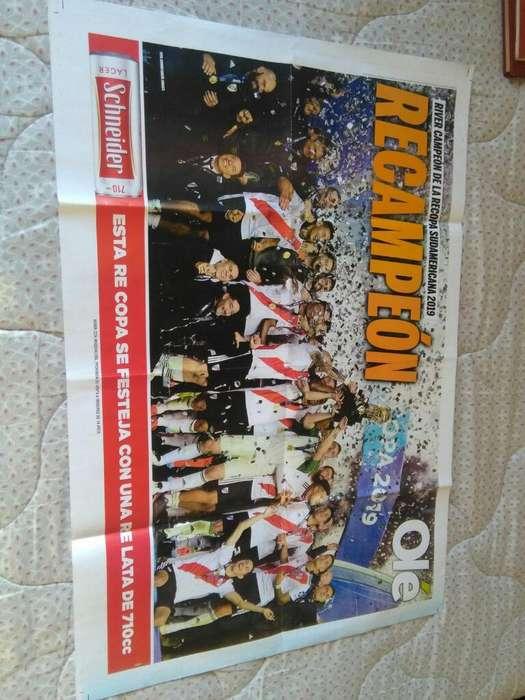 Gran Poster del Diario Ole River Campeón Recopa Sudamericana 2019