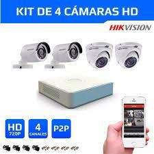 KIT DE 04 CÁMARAS DE SEGURIDAD EN HD 720p HIKVISION DAHUA