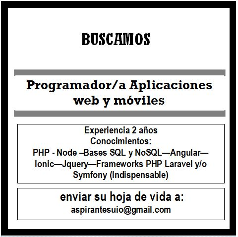 Programador Aplicaciones Web y móviles
