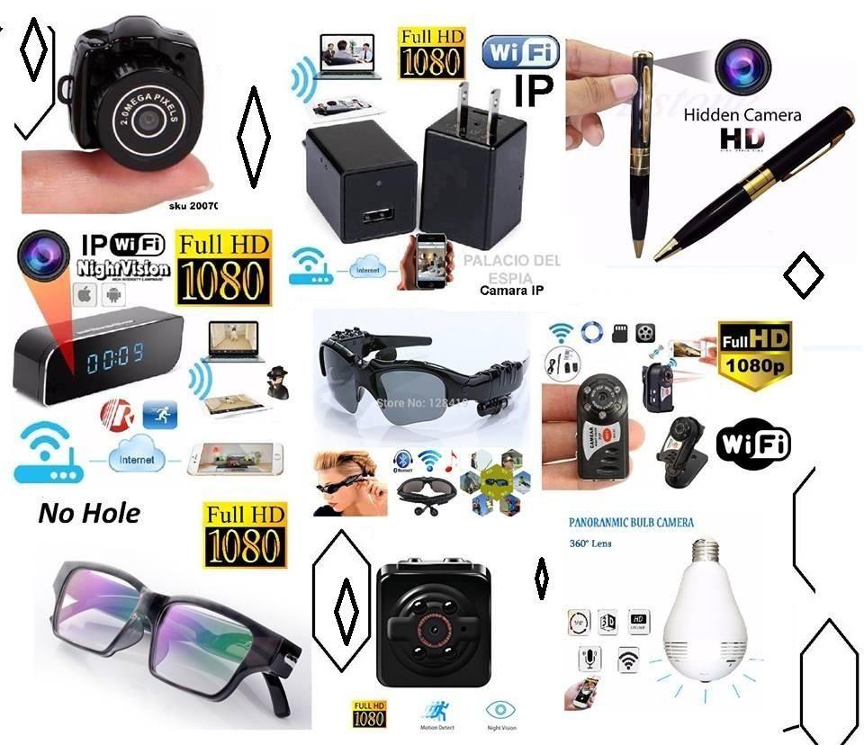 Camara Espia Seguridad WIFI Tipo Esfero Reloj Cargador Gafas Bombillo boton Mini lapirero