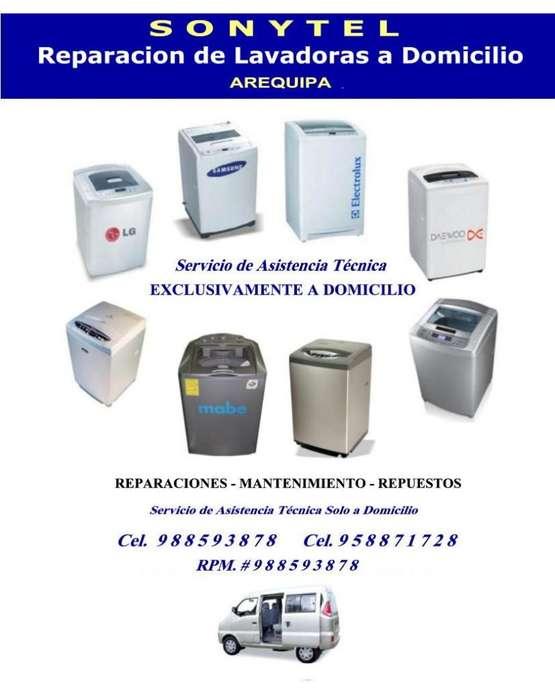 Reparación LAVADORAS Cel. 988593878 a Domicilio AREQUIPA. Mantenimiento Serv. Técnico Profesional. Aceptamos Tarjetas