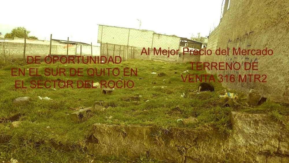 Se Vende Terreno de 316 mtrs2, sector Rocio de Guamaní.