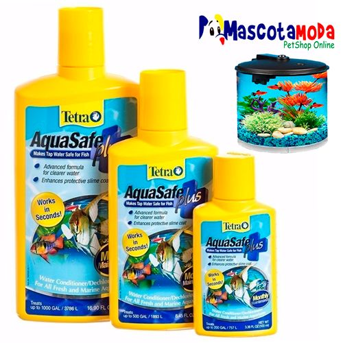 AquaSafe Plus acondicionador de agua anticloro acuarios peceras