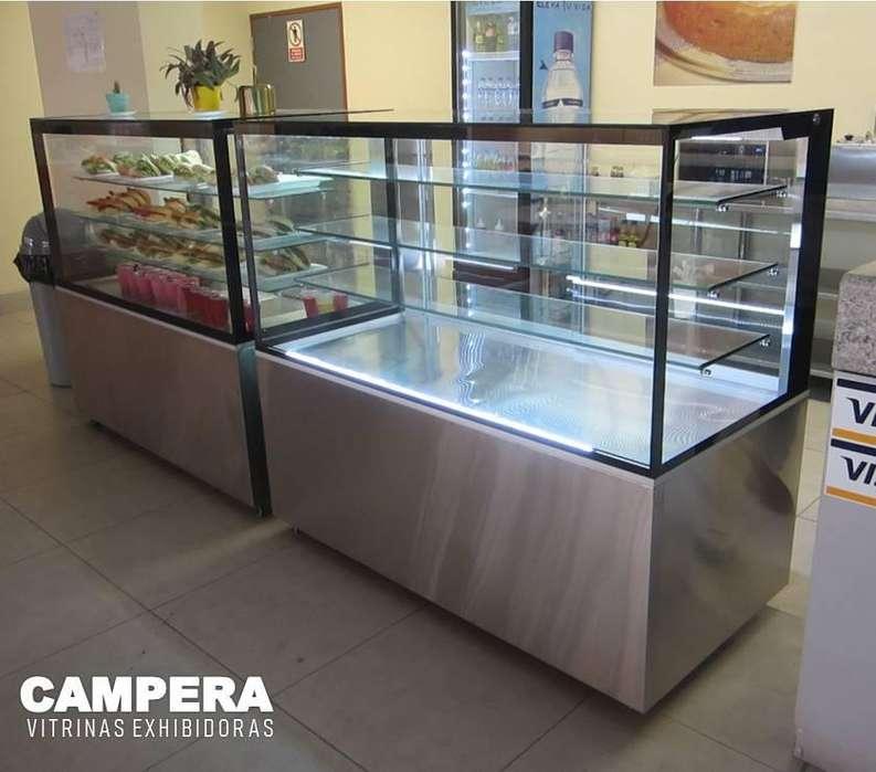 Exhibidora cuadrada refrigerada y no refrigerada