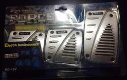 pedaleras tunning neon color azul son de aluminio !!!