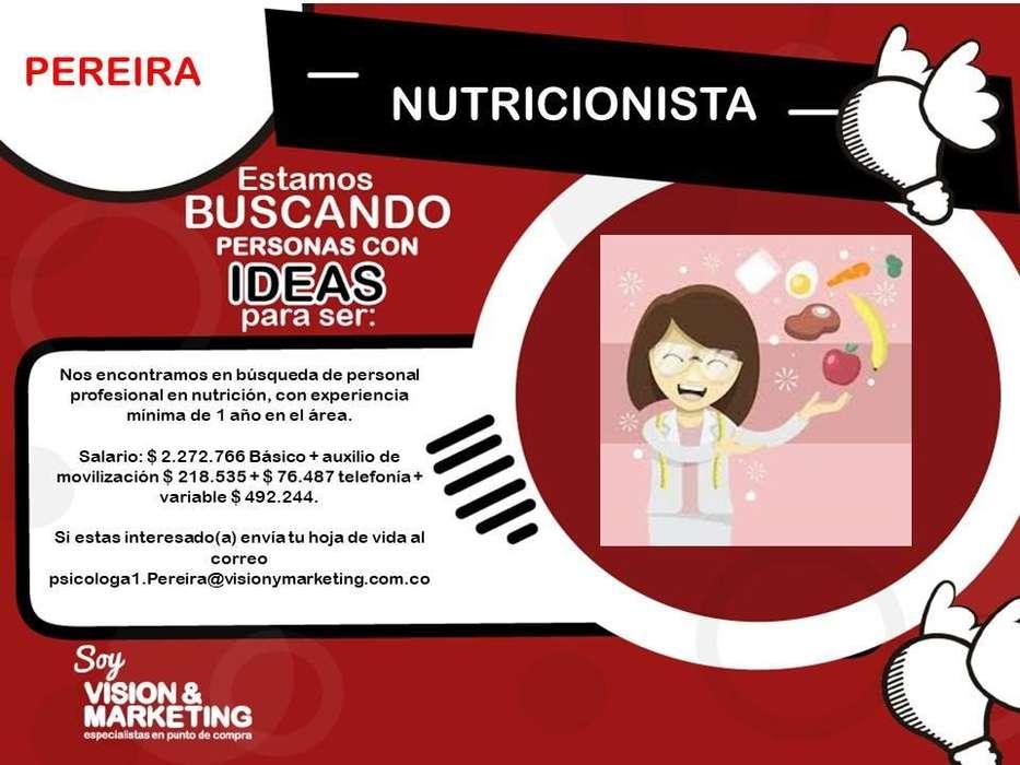 OFERTA DE EMPLEO ¡NUTRICIONISTA!